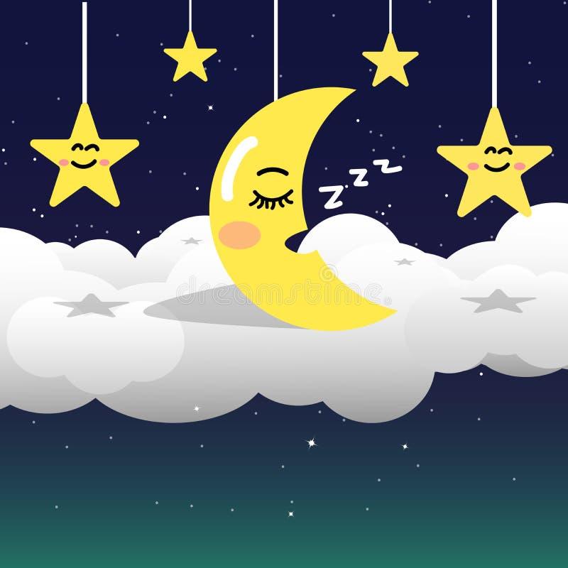 在夜空的月亮与在空间和星系背景,黏性物质的星 向量例证