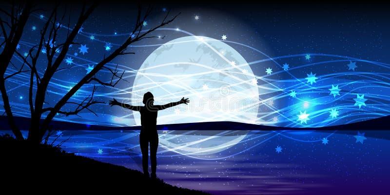 在夜空的月亮 人手舒展魔术 免版税库存照片