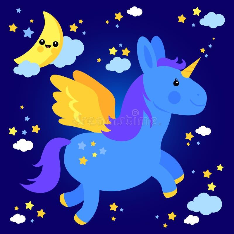 在夜空的逗人喜爱的独角兽飞行 皇族释放例证