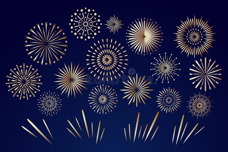 在夜空的金黄烟花 庆祝火烟花,圣诞节烟火制造术爆竹为冬天党节日生日 库存例证