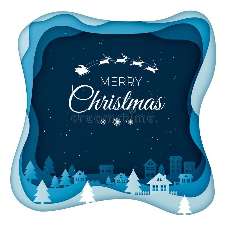 在夜空的飞行圣诞老人在城市镇风景在与家和多雪的小山的冬天 寒假设计纸艺术 向量例证