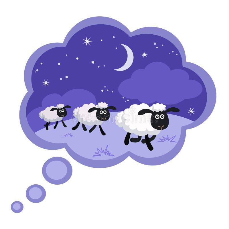 在夜背景中计数绵羊在梦想泡影 向量例证