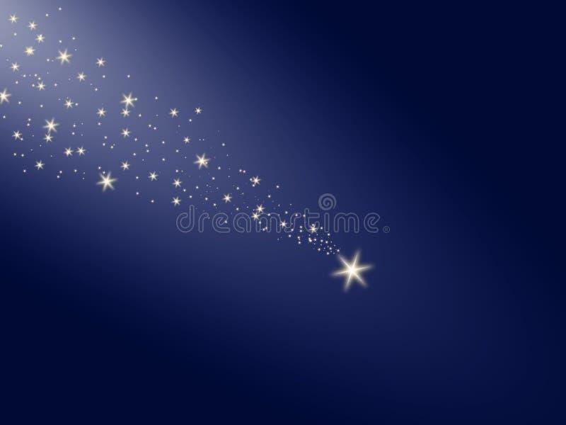 在夜蓝天的流星 免版税库存照片