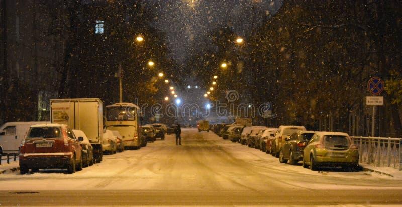 在夜路的雪 免版税库存照片