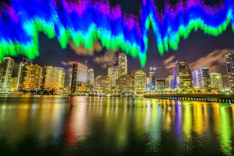 在夜迈阿密背景的Freezelight  免版税图库摄影