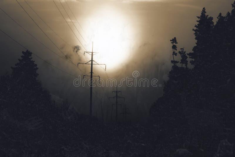 在夜郊区的黑暗 库存照片