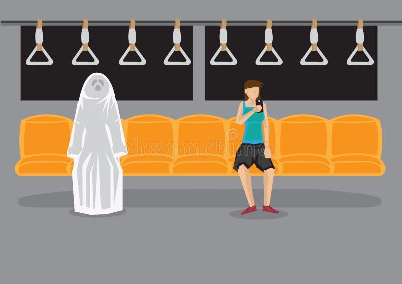 在夜间地铁动画片传染媒介Illust的超自然的遭遇 库存例证
