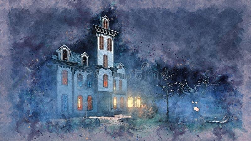 在夜难看的东西水彩剪影的可怕豪宅 向量例证