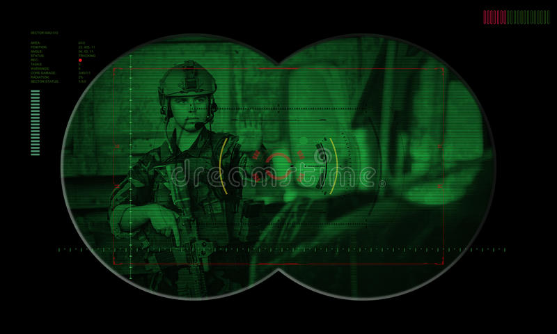在夜间作战人质抢救期间的别动队员队 通过看法 免版税图库摄影