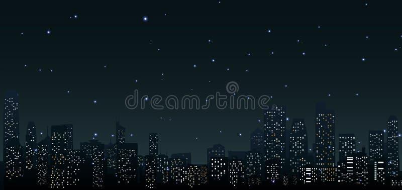 在夜.urban场面的城市地平线 皇族释放例证