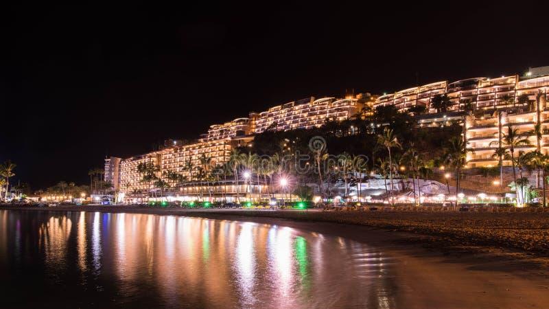 在大加那利岛西班牙海岛上的夏夜  库存图片