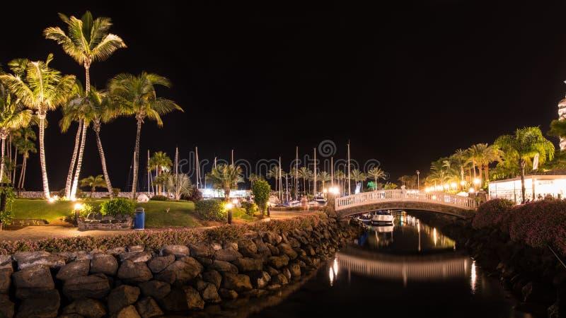 在大加那利岛西班牙海岛上的夏夜  免版税库存照片