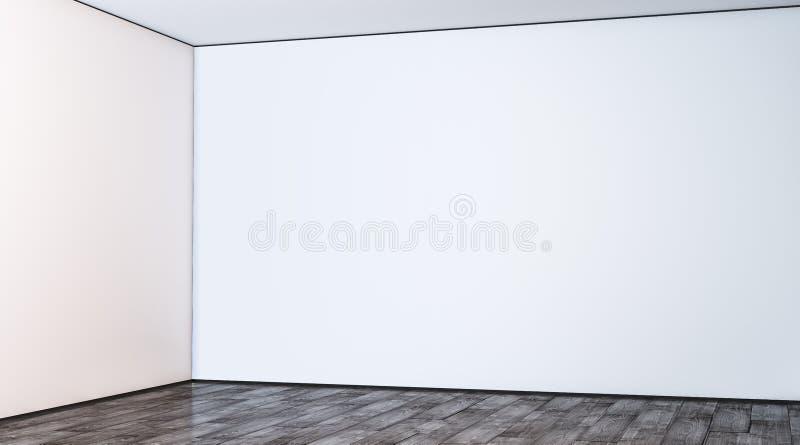 在大厅大模型的空白白色大画廊墙壁角落 皇族释放例证