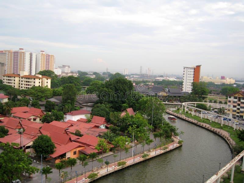 在大厦中的Melaka河 库存图片