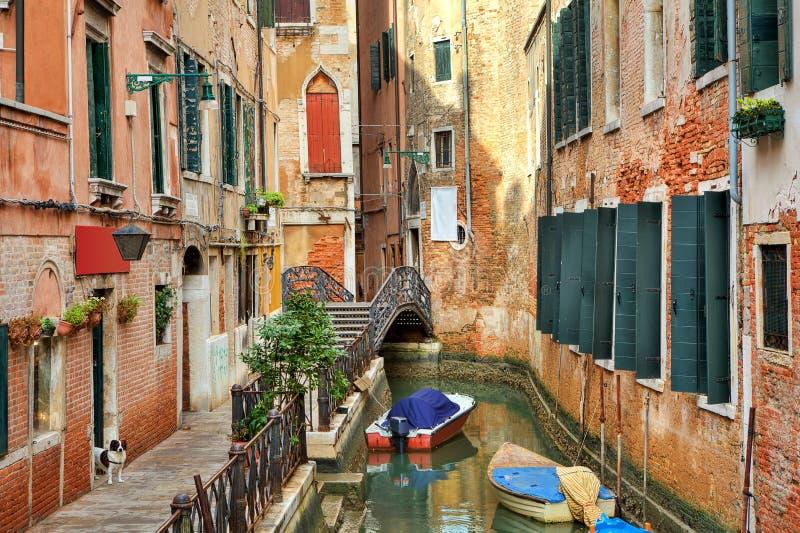在大厦之中的小的运河。 威尼斯,意大利。 免版税库存照片