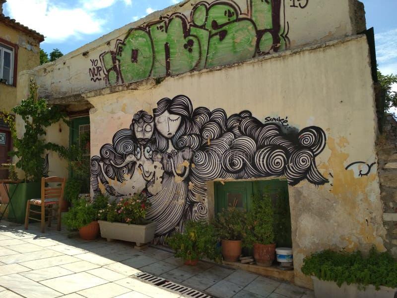 在大厦的壁画在雅典 免版税库存照片