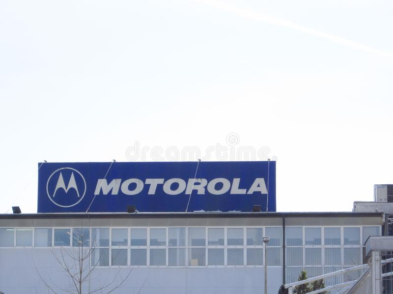 在大厦的摩托罗拉标志 图库摄影