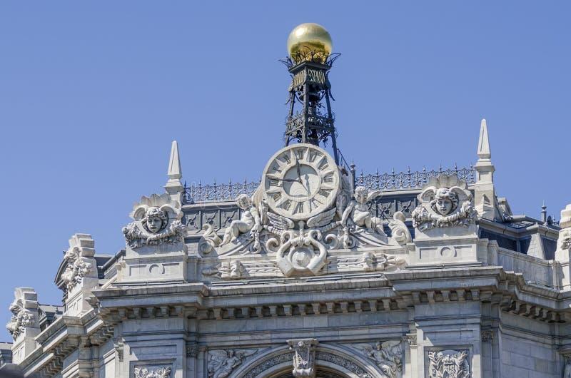 在大厦的时钟在西班牙 图库摄影
