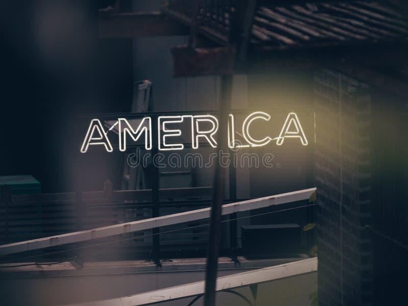 在大厦的标志美国 免版税库存照片