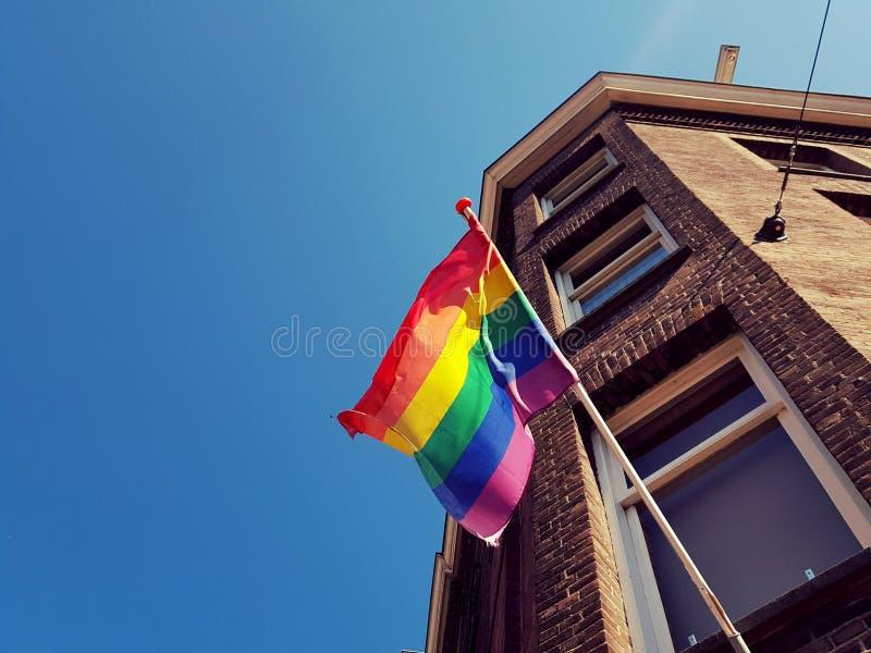 在大厦的LGBT旗子 免版税库存照片