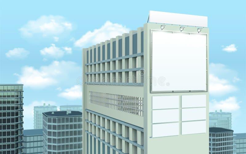在大厦都市风景构成的广告牌 向量例证