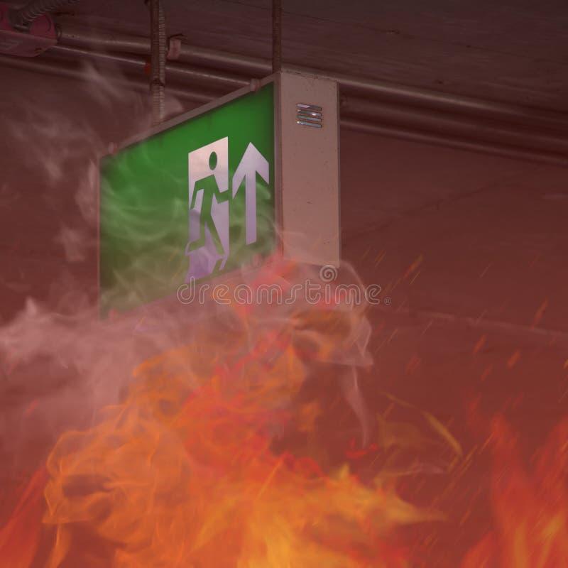 在大厦-紧急出口的火 免版税库存照片