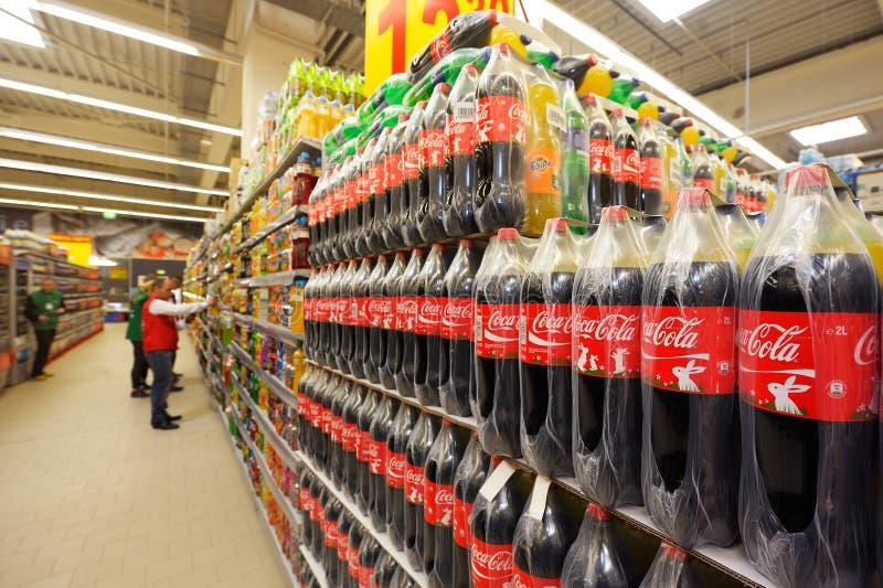在大型超级市场欧尚盛大开幕式的照片在Galati 库存图片
