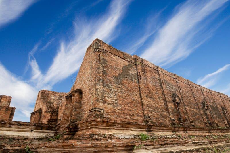 在大城府的Wat Maheyong、古庙和纪念碑, 库存图片