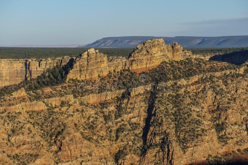 在大峡谷,亚利桑那的南外缘的日落 图库摄影