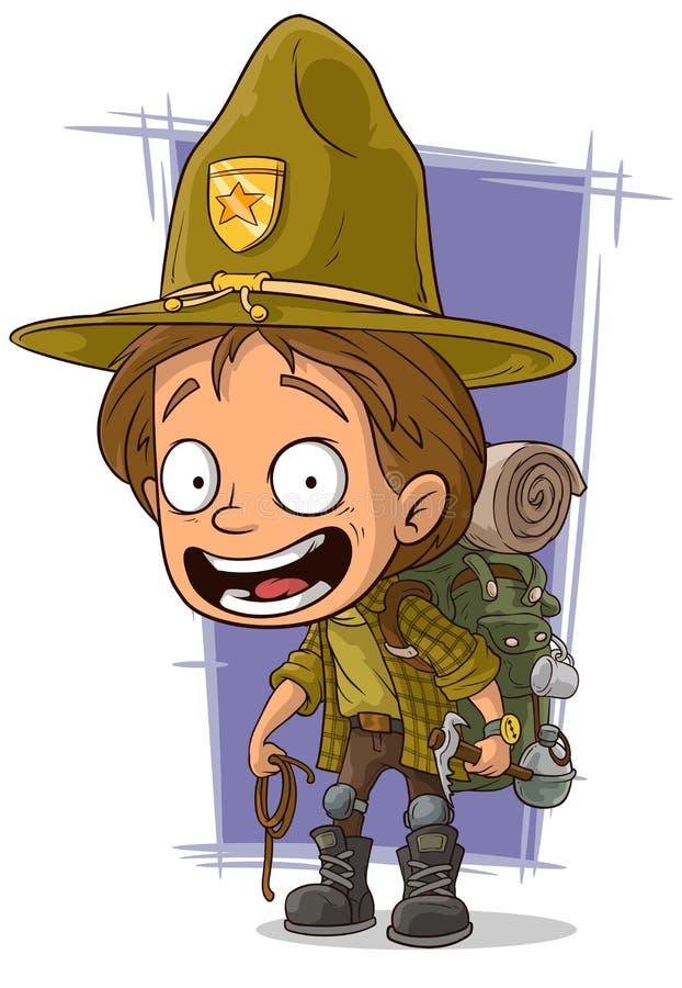 在大帽子的动画片微笑的年轻boyscout 皇族释放例证