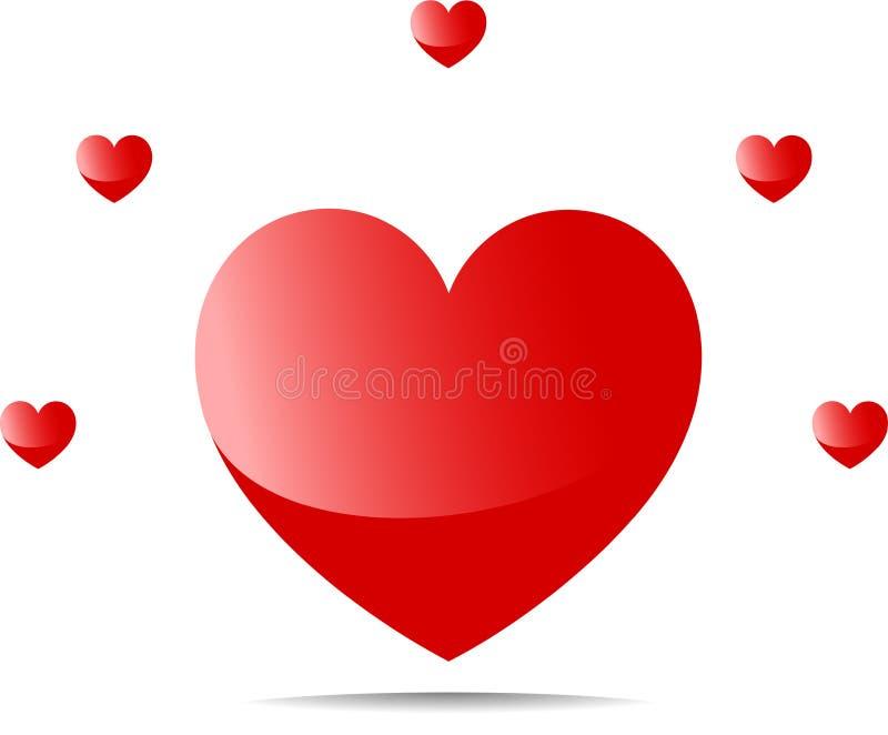 在大心脏附近的五小心脏 库存例证