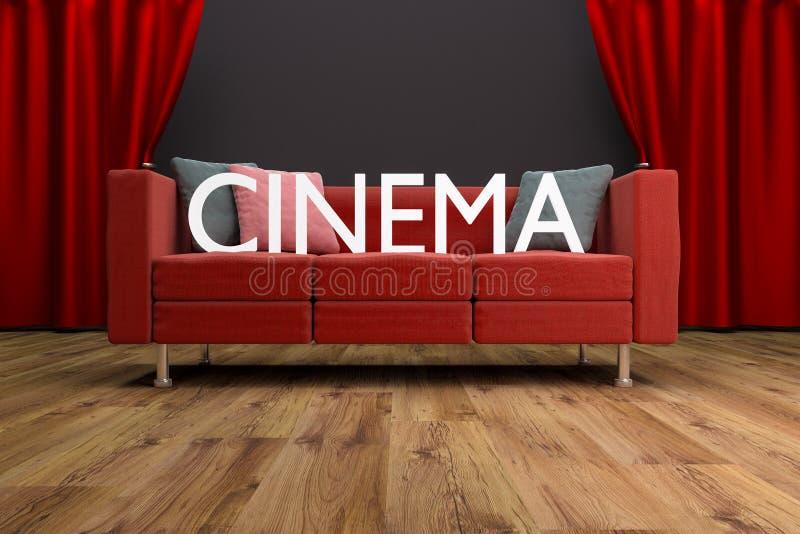在大戏院帷幕前面的红色长沙发 皇族释放例证