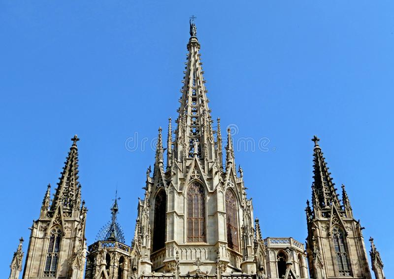 在大教堂的前面的一个细节在巴塞罗那 库存照片