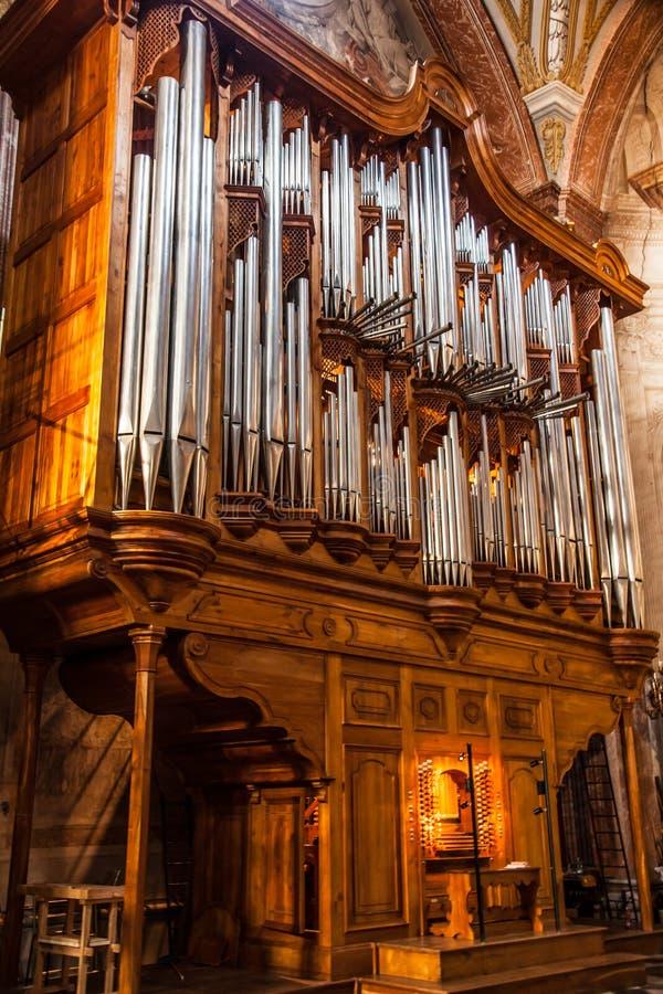 在大教堂,罗马的管风琴 免版税库存照片