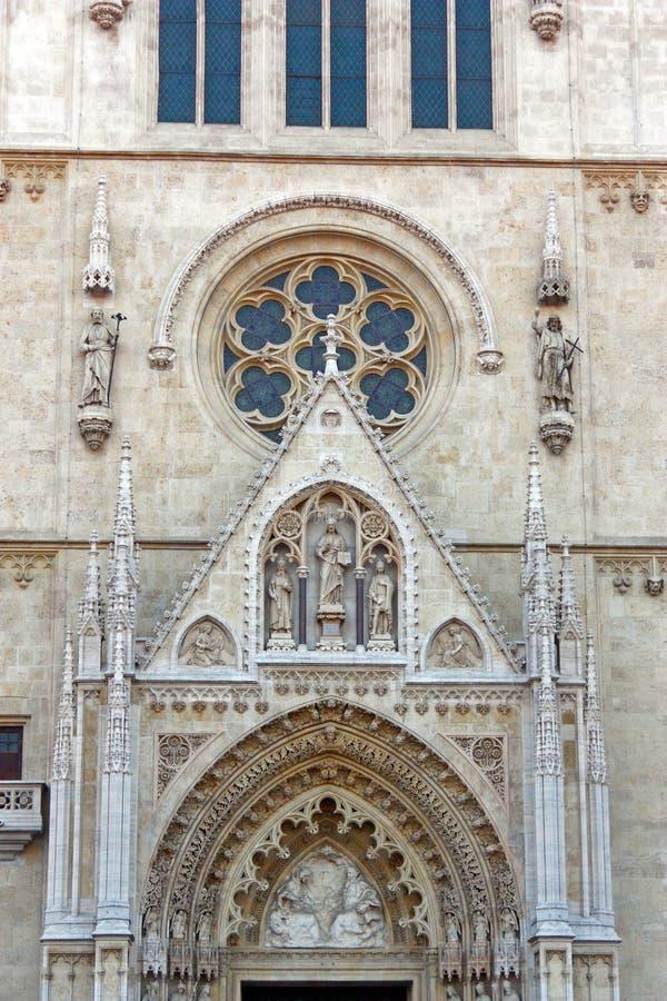在大教堂,萨格勒布的细节 库存图片