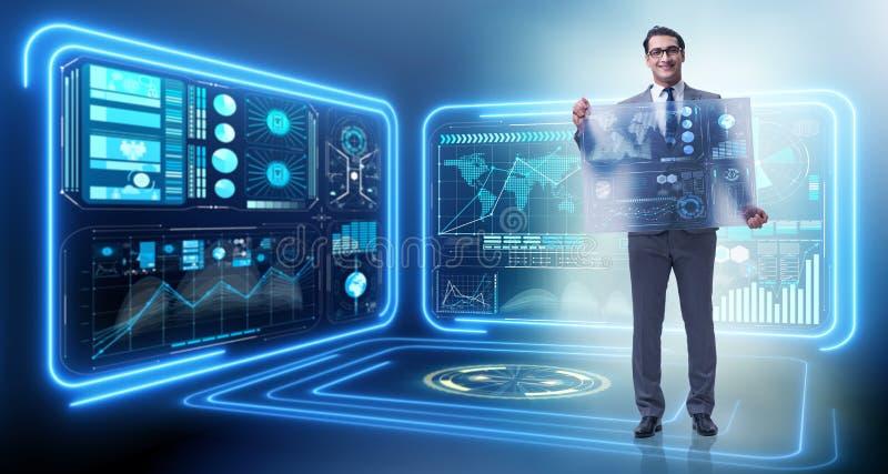 在大数据管理概念的商人 库存例证