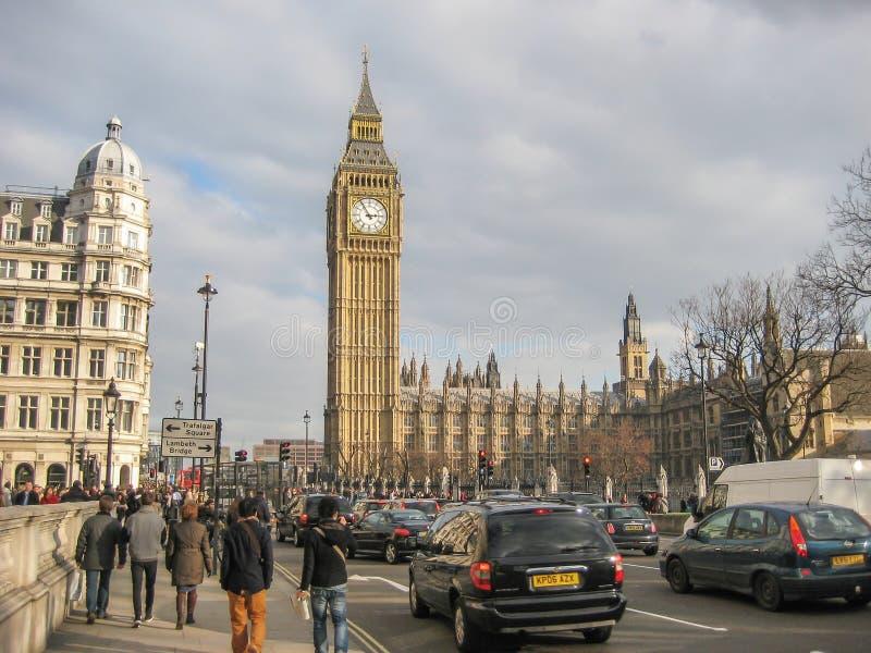 在大本钟尖沙咀钟楼的看法在威斯敏斯特宫殿,伦敦 免版税库存图片