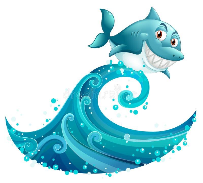 在大波浪上的一个鲨鱼 向量例证