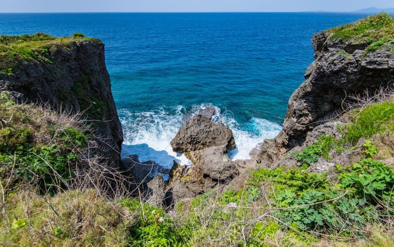 在大波浪上的两高峭壁 免版税库存图片