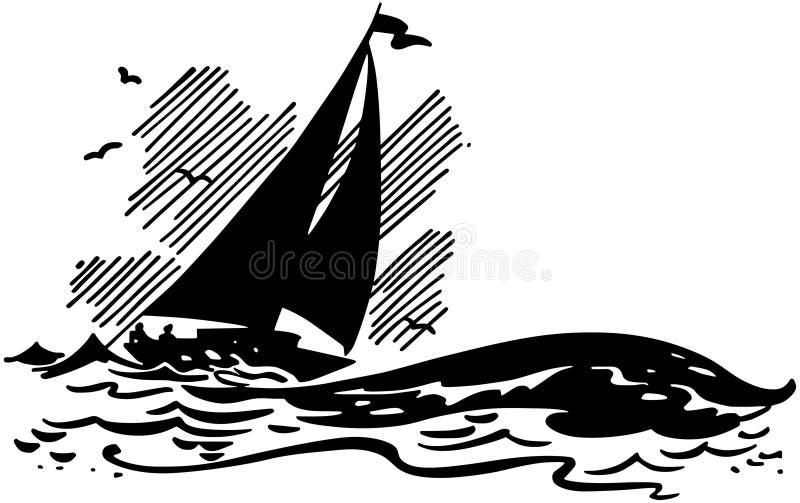 在大波浪的风船 库存例证