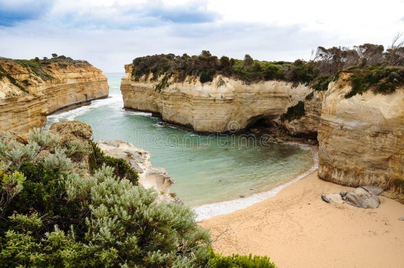 在大洋路路线的岩石曲拱在澳大利亚 库存照片