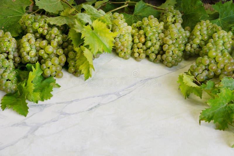 在大理石厨房用桌上的新鲜的成熟绿色鲜美水多的葡萄 免版税库存图片