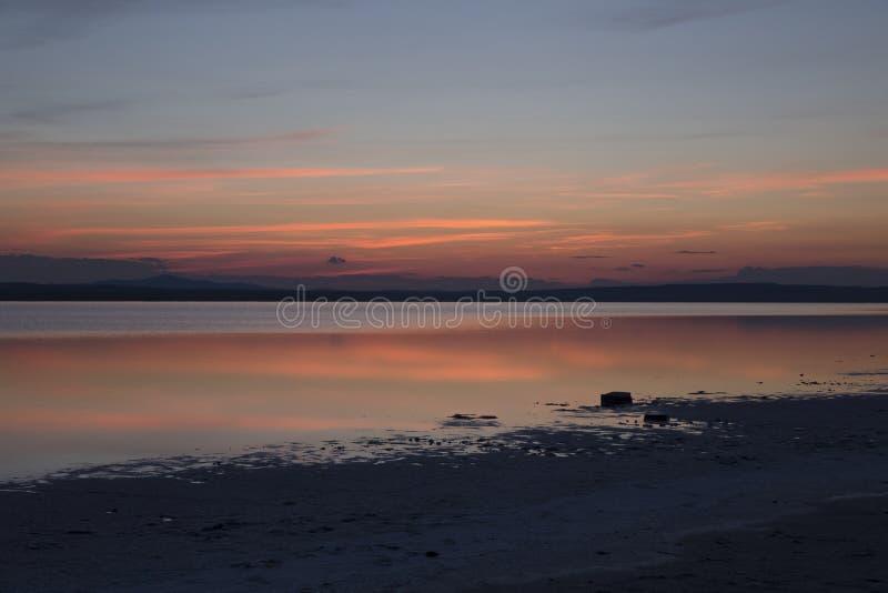 在大盐湖的黄昏天空 免版税库存图片