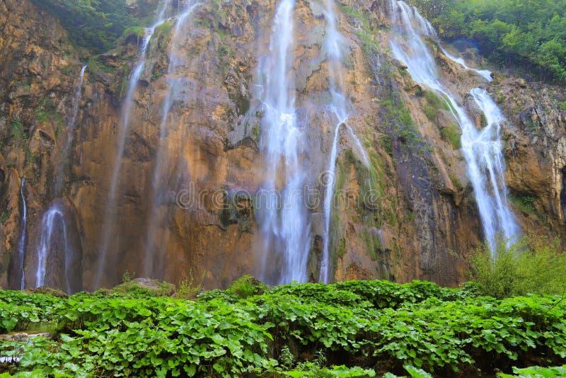 在大石头中的瀑布在Plitvice湖使公园,克罗地亚环境美化在春天或夏天 克罗地亚瀑布 库存图片