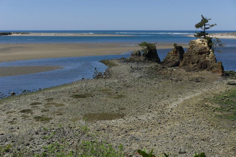 在大篷车小河的Siletz海湾 库存图片