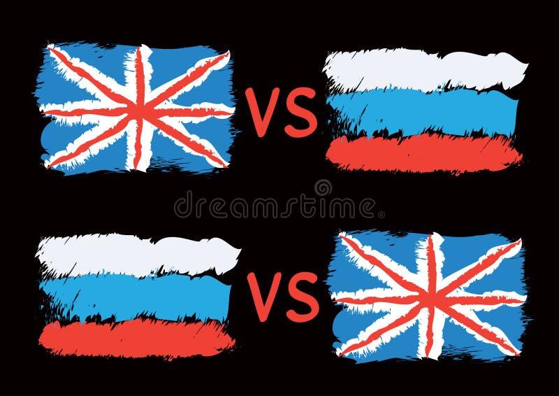在大英国和俄罗斯之间的冲突 库存例证