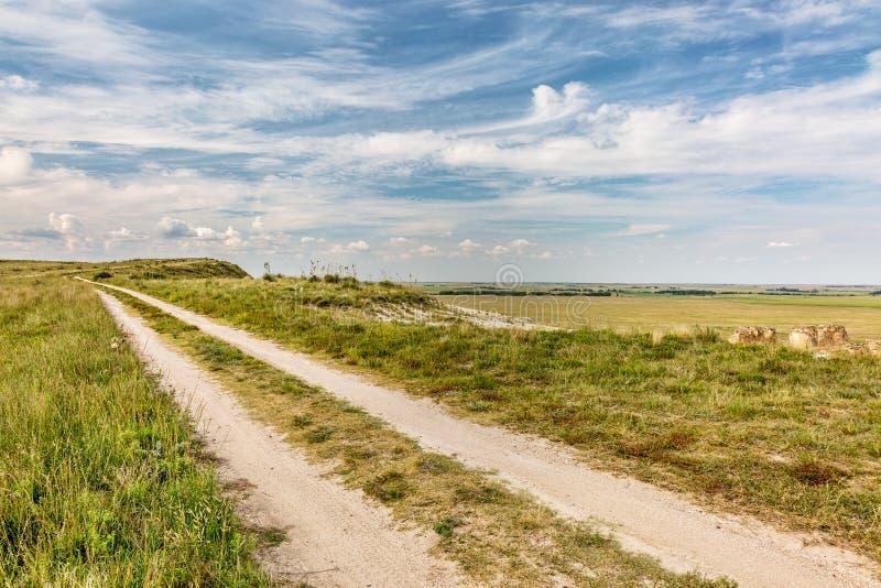 在大草原的大农场路 免版税图库摄影