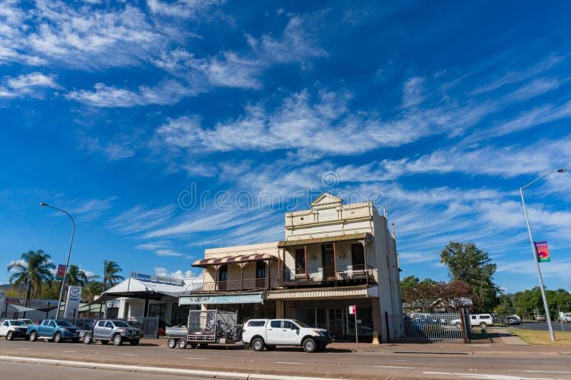 在大街上的历史建筑在烤饼,澳大利亚 库存照片