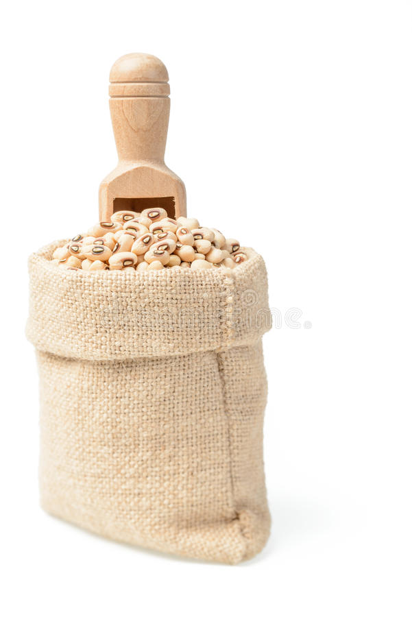 在大袋的未加工的母牛豌豆豆 库存图片