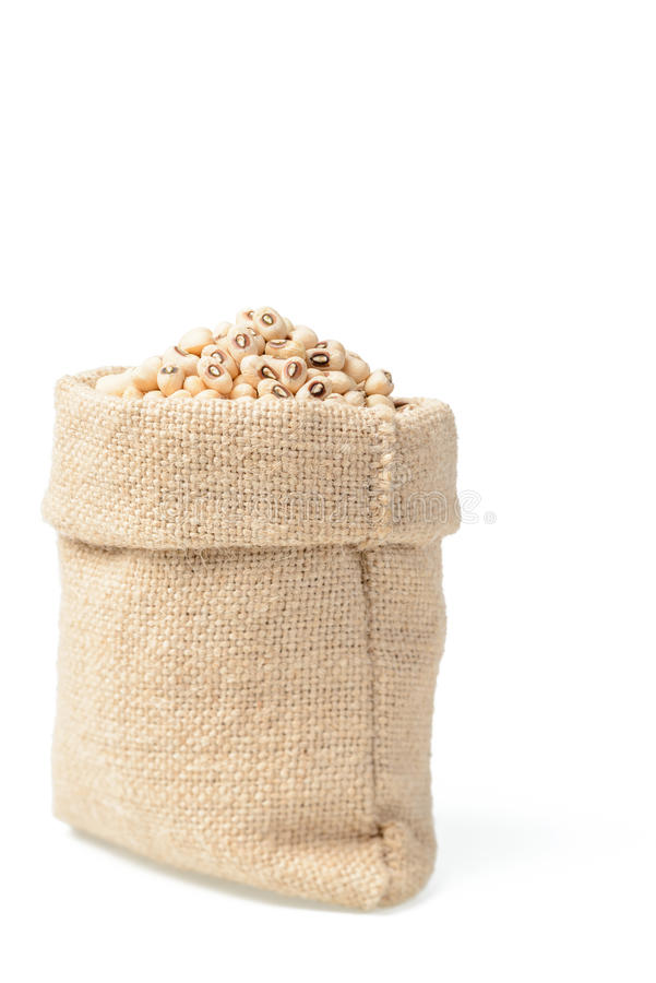 在大袋的未加工的母牛豌豆豆 免版税库存照片